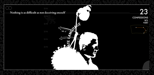 "Screen capture from ""88 Constellations for Wittgenstein"" by David Clark. Black background with figures of a arrows, a heart and the profile of a person. Text: ""Nothing is as difficult as not deceiving oneself""."