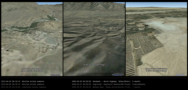 "Screen capture from ""Afghan War Diary"" by Matthieu Cherubini. Set of three satellite images with different landscapes. Unreadable text."