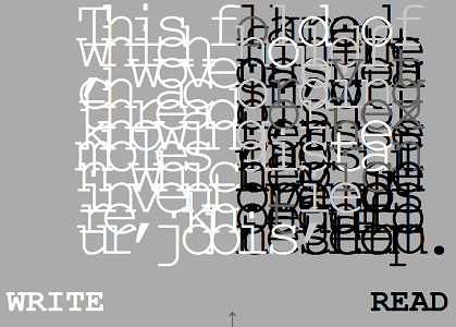 "Screen capture from ""Alphabet of Stars"" by Whitney Anne Trettien. Gray background with a bunch of mashed up letters in white and black and two words at the bottom. Text: Write. Read."