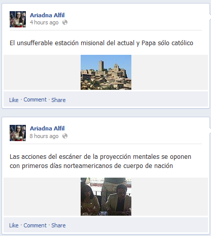 "Screen capture from ""Debasheesh Parveen"" and ""Ariadna Alfil"" facebook accounts created by Eugenio Tisselli. Text: ""El unsufferable estación misional del actual y papa sólo Católico."""