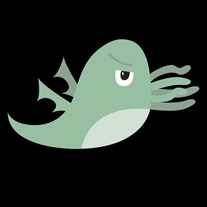 Image of the Twitter logo stylized to resemble Cthulu on a black background.