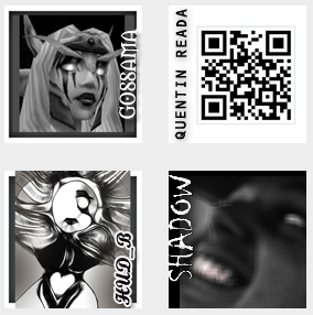 "Screen capture from ""Feral C"" by Mez Breeze. Arrangement of profile pictures for the accounts associated with the work: Text: ""GOSSAMA, HUD_B, SHADOW, QUENTIN READA"""