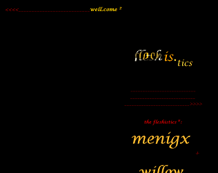 "Screen capture of ""Fleshis.tics"" by Mez Breeze. Red and yellow font over black background. Text: ""fleshis.tics / meningx"""