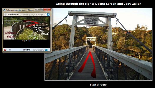 "Screen capture of ""Going through the Signs"" by Jody Zellen and Deena Larsen. A first person POV of a bridge entrance, with a second window showing another bridge, this one curved to the right. Text: ""(First bridge) / Step through / (Second bridge) / play it safe / without signs / do you follow flows?"""