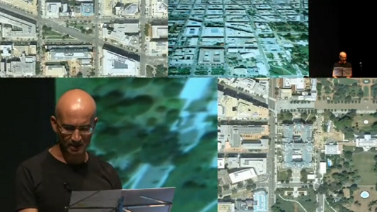 "Screen capture of ""Google Earth: A Poem for Voice and Internet"" by Manuel Portela. Google Earth satellite imagery of several towns and cities with differing angles of the author giving a lecture. No text."