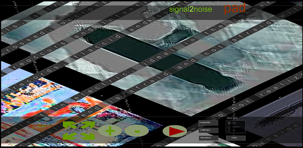 "Screen capture of ""Noiselines"" by Pedro Valdeomillos and Jason Nelson. Low resolution satellite images overlaid by diagonal text in tiles."