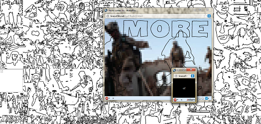 "Screen capture of ""Lines of Life"" by Jody Zellen. A window shows a blurred vidoe of U.S. Troops; the background is a series of ink doodles. Text: ""MORE"""