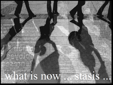"Screen capture of ""More Real than Now"" by Jody Zellen. Legs of people walking are shown in black, while letters (specifically ""what is now...stasis..."") are in white, and the street / background is gray."
