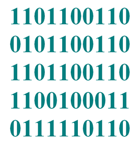 "Screen capture of the work ""Noise"" by Gerald Smith. The image portrays the binary code in teal."