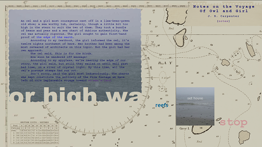 "Screen capture of ""Notes on the Voyage of Owl and Girl"" by J.R. Carpenter. Image of a map. Text boxes on top."