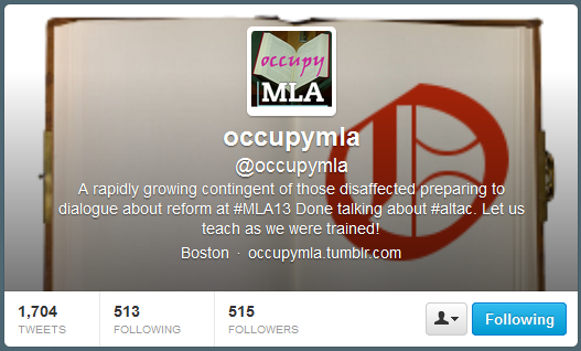 "Screen capture of ""Occupy MLA"" by Mark C. Marino and Rob Wittig. Twitter cover is a picture of an empty journal with a big, red ""O"" on it. Twitter profile picture writes ""occupy MLA,"" followed by a lengthy description of the twitter account."