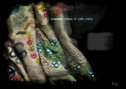 "Screen capture of ""Of Day, Of Night"" by Megan Hayward. Picture of an embroidered, colored fabric."