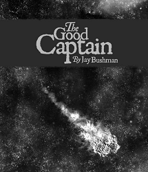 "Screen capture from ""The Good Captain"" By Jay Bushman. Gray colored picture of a night sky with a meteor passing through. The screen shot also has the title of the poem on top."