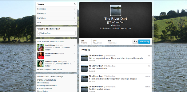 "Screen capture from ""The River Dart"" & ""Babble Brook"" by J.R. Carpenter.  A twitter account with the picture of a river in the background and profile picture. Some of the postings read: ""Hail on magnolia leaves. These and other improbably sounds."", ""All hail the cold rain"", ""It can halt in the sun for longer than one might imagine"", ""Sudden sun hail shower""."