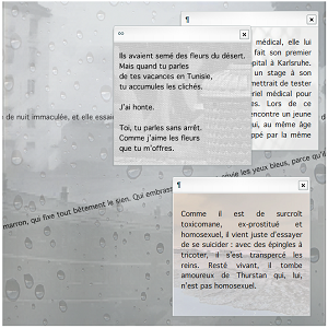 "Screen capture from ""Tramway"" by Alexandra Saemmer. Faded grey background with buildings and in the foreground three chat boxes with various lines of text written on them. Text: the text is too small to be read."