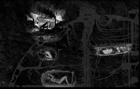 "Screen capture from ""Underbelly"" by Christine Wilks. Black background with various grey ominous images in the foreground."