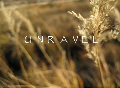 "Screen capture from ""Unravel"" by Agnieszka Michalska. Background is image of a wheat field with a solitary word written in the middle on white text. Text: ""UNRAVEL"""