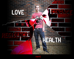 "Screen capture from ""Unravelled"" by Spenser Wain, Zac Urness, and Kollin Branicki. Background of two images of a man that is fragmented with words written in each fragment. Text: ""LOVE"" ""HEALTH"" ""FINANCE"" ""RESIDENCE"""
